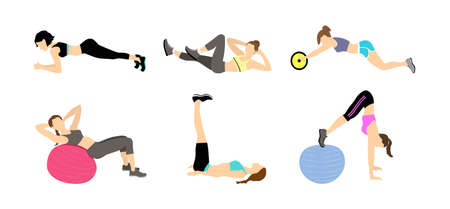 Fitness exercises set. Different exercises with fitball as sit-ups and pull-ups. Yoga and gym. Healthy lifestyle. Fit and slim girls in sport clothes.