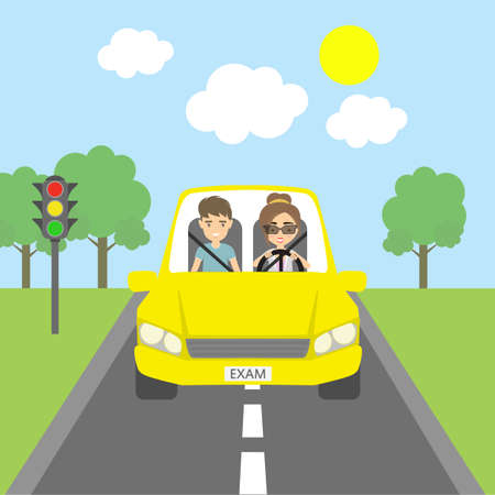 yellow car: Happy driving test. Smiling male teacher and female student driving in yellow car. Funny driving education.