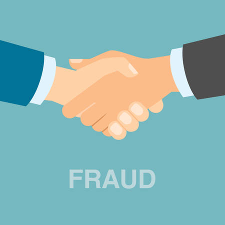 concealed: Bad fraud handshake. Two businessman hands shaking. Concept of concealed fraud and dishonesty.
