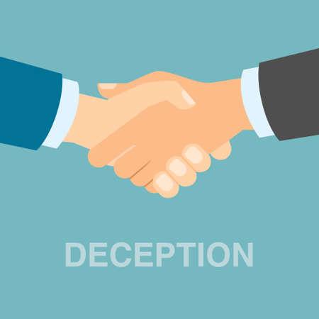 deception: Business deception handshake. Manipulative deception in business partnership. Cheating in business cooperation. Illustration