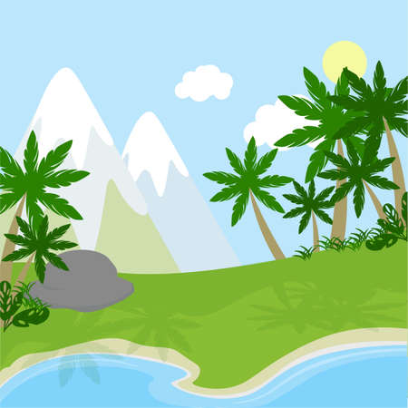 Cartoon prehistoric landscape. River, mountains and beach with palms and plants. Illustration