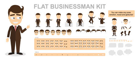 creation kit: Flat businessman kit. You can make any pose, mood and gestures. Funny cartoon office worker. Creating avatar with construction. Illustration