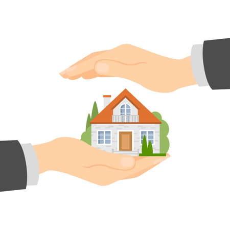 protect: Hands protect home. Concept of house insurance, protection and safety. Insurance agency.