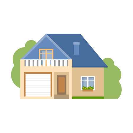proprietary: Isolated cartoon house. Simple suburban house with garage. Concept of real estate, property and ownership.