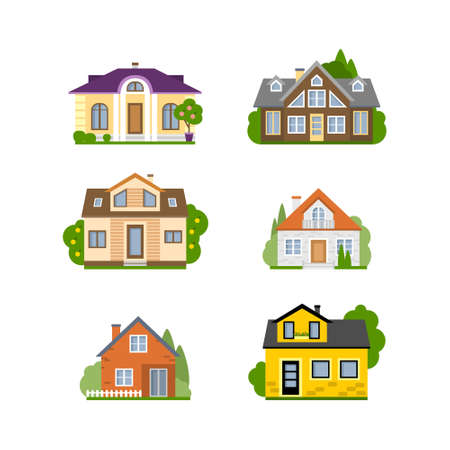 proprietor: Isolated house set. Concept of real estate, property and ownership. Four different colorful houses.