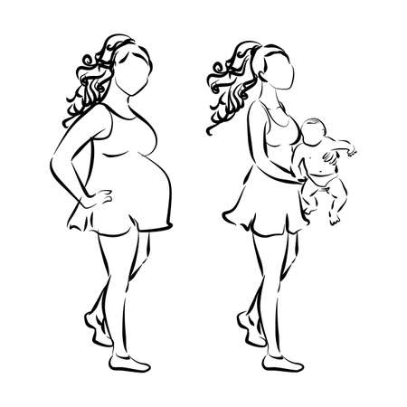 motherhood: Motherhood and pregnancy concept. White silhouettes of women. Pregnant woman and woman with baby.