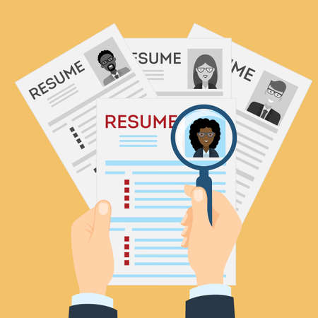 new opportunity: Woman resume with magnifier at the table. Cv resume concept. Finding a worker. Apply for a job. Business opportunity. Cv profile. Finding new staff. Illustration