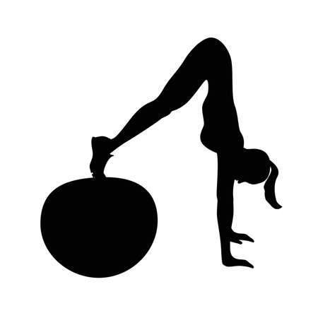 abs: Black silhouette of woman doing abs exercise on fitball. Woman doing fitness exercise on white background. Healthy lifestyle.