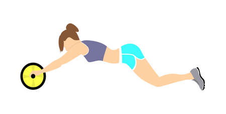 abs: Woman doing abs exercise. Beautiful slim woman doing fitness exercise on white background. Healthy lifestyle.