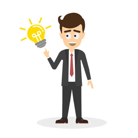 Businessman with idea light bulb. Isolated cartoon character on white background. Smiling handsome man pointing on lightbulb. Concept of creativity and solution.