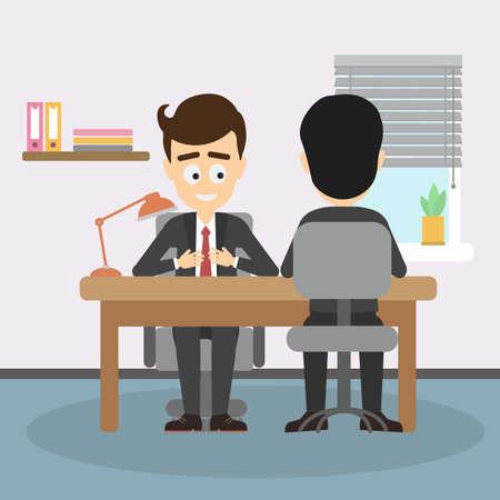 teambuilding: Businessman job interview. Boss interviewing new staff, findinf new office worker. Teambuilding and recruitment.
