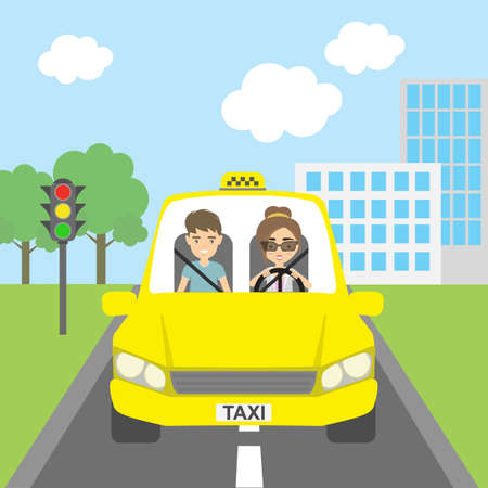 yellow cab: Taxi driver with passenger. Smiling people in yellow cab. Riding on the city street. Yellow car for urban service. Illustration