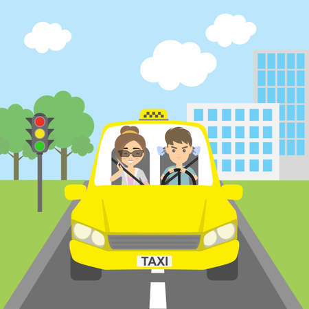 fare: Woman taxi driver with passenger. Riding on the city street. Yellow car for urban service. Angry male driver and talking female passenger. Woman talking over the telephone.