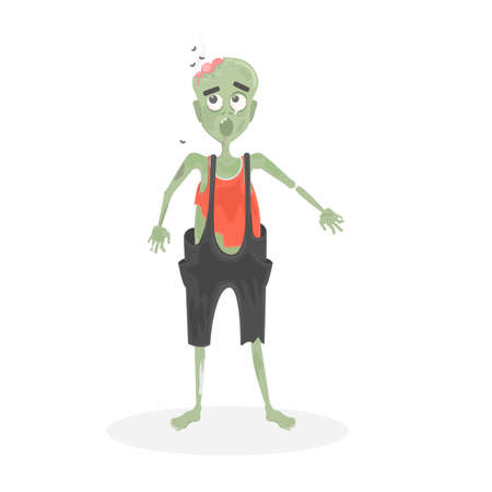 ghoulish: Isolated scary zombie. Green zombie with brain. Scary reanimated monster for halloween decoration.