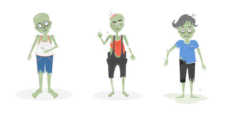 Scary zombies set. Green zombies with brain and bone. Scary reanimated monsters for halloween decoration. Illustration
