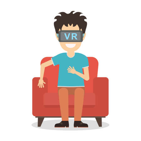 Isolated vr man. Young smiling man using vr glasses sits on armchair on white background. Home entertainment. Augmented reality, new technologies. 3D film.