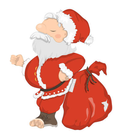 Funny Santa Claus. Funny haughty Santa with sack and glasses. Red suit and white beard. Symbol of New Year and Christmas. Illustration