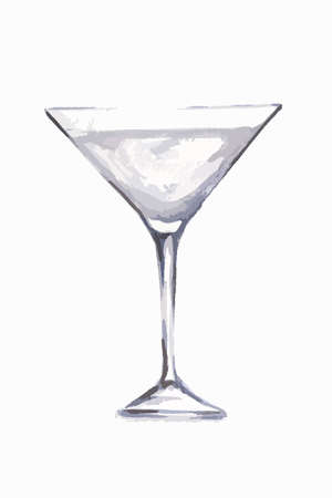 alcoholic beverage: Watercolor martini glass. Beautiful and elegant glass with alcoholic beverage. Art for menu decoration. Illustration