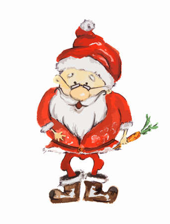 Watercolor Santa Claus. Funny smiling Santa with carrot and glasses. Red suit and white beard. Symbol of New Year and Christmas.