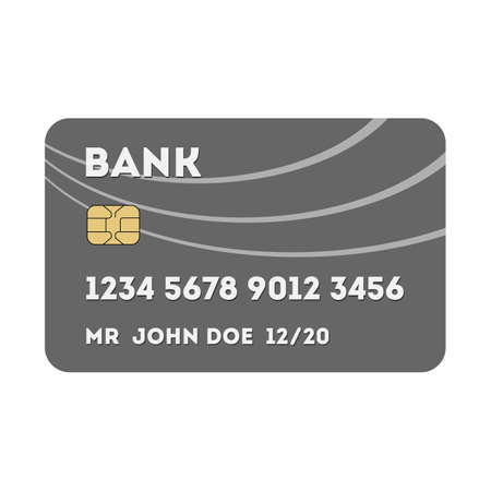 virtual world: Isolated silver plastic credit or debit card on white background. Payment with credit or debit card all over the world. Virtual transaction. Shopping with credit card. Illustration