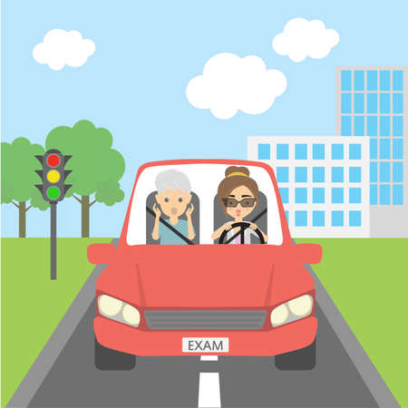 risky: Scared into grey hair male passenger and female driver. Teacher and student. Girl passing driving test. Risky funny situation.