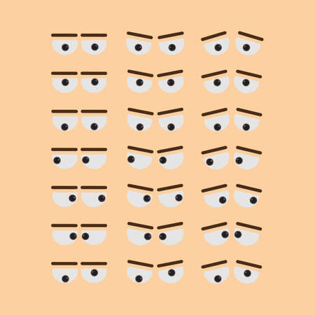 desprecio: Funny eyes set. Eyes with brows. All kinds of emotions as sadness, anger, contempt and more.