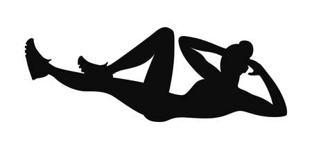 healthy woman white background: Isolated black silhouette of a woman doing crunches on white background. Reverse crunches exercise. Healthy lifestyle. Illustration