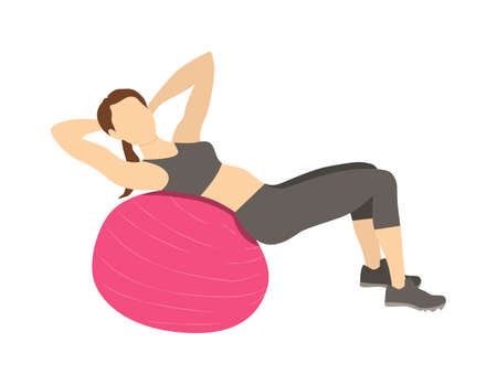 abs: Woman doing abs exercises on fitball. Healthy lifestyle. Pilates and gym training.