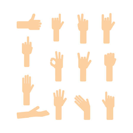 communication cartoon: Funny hands set. Cartoon gestures collection. Communication with hands language. Illustration