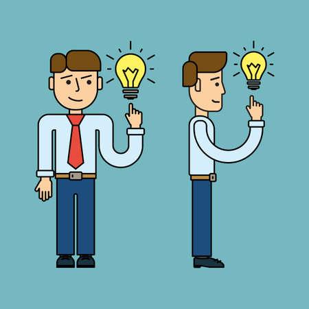 idea concept line flat design. Businessman with idea bulb. vector Illustration