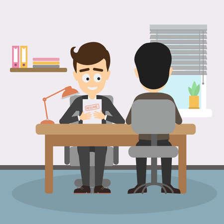 Zakenman sollicitatiegesprek. Boss interviewen nieuwe medewerkers, findinf nieuwe beambte. Teambuilding en rekrutering.
