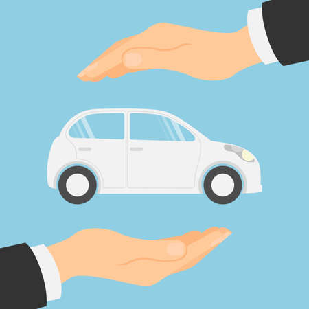 upkeep: Car insurance concept. Insurance company. Guaranty of preservation, repair and protection. Illustration