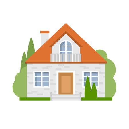 suburban: Isolated cartoon house. Simple suburban house. Concept of real estate, property and ownership.