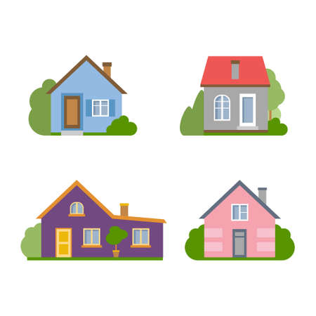 proprietor: Isolated cartoon house. Simple suburban house. Concept of real estate, property and ownership.