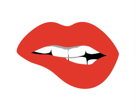 Red lips opened. Sexy and glossy female lips. Fashionable makeup and white teeth. Biting lips. Vectores