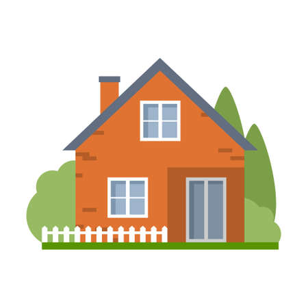 proprietary: Isolated cartoon house. Simple suburban house. Concept of real estate, property and ownership.