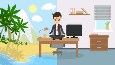 happy employee: Meditation and relaxing. Businessman sitting in a lotus pose and meditate imagining sunny beach, palms and ocean. Concept of relaxation in office.