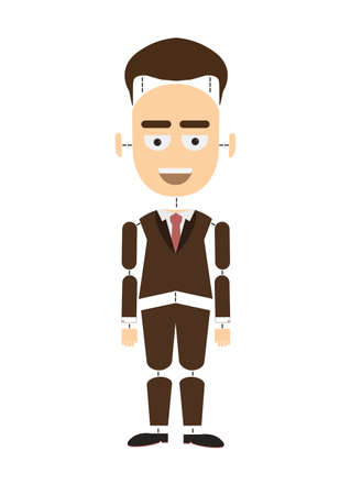 body parts: Body parts businessman. Funny cartoon construction of businessman on white background. Body parts are separate from body.
