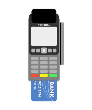 paying: Isolated Pos terminal with card on white background. Banking, payment and transaction machine. Paying with credit card.