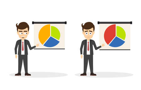 tutor: Businessman with white board on white background. Isolated cartoon smiling man standing with pointer and board. Concept of teacher, tutor and coach. aaaaaaaapie chart.