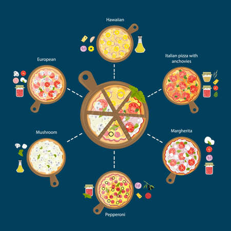 margherita: Different pizza set. Pepperoni and hawaii, european, margherita and more. Different pizzas on wooden boards.