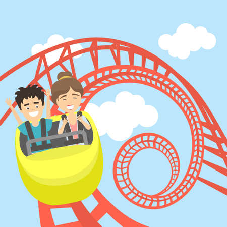 Rollercoaster in amusement park. Young smiling man and woman have fun on the roller coaster. Scary but funny entertainment.