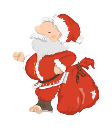 santa suit: Funny Santa Claus. Funny haughty Santa with sack and glasses. Red suit and white beard. Symbol of New Year and Christmas. Illustration
