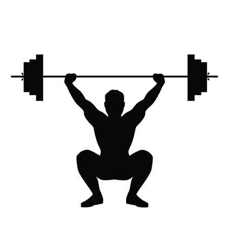 Geïsoleerde zwarte silhouet van een man doen gewichtheffen. Gezonde levensstijl.