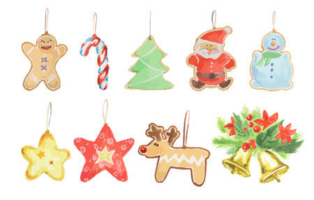 watercolor christmas toys set bright and colorful toys for christmas tree candies bells - Sign Up For Free Christmas Toys