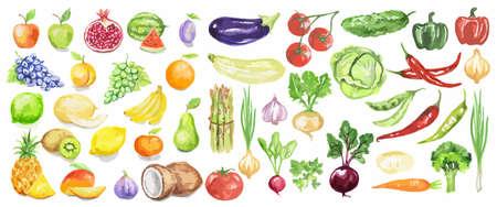 Aquarel groenten en fruit instellen. Sappig en kleurrijk fruit op witte achtergrond zoals appels, kokosnoot, limoen, tomaten, komkommer en meer. Vegetarisch dieetvoedsel met vitamines.