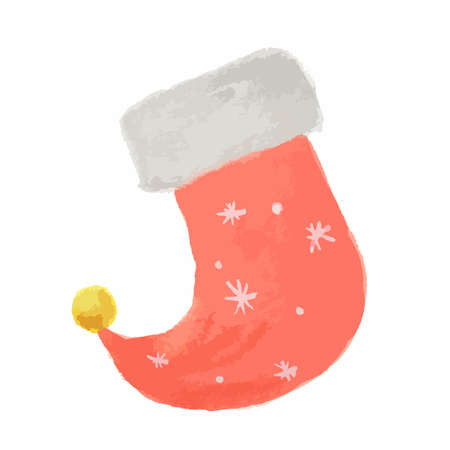 Isolated watercolor sock. Sock for Christmas and New Year. Bright colorful piece of clothes.