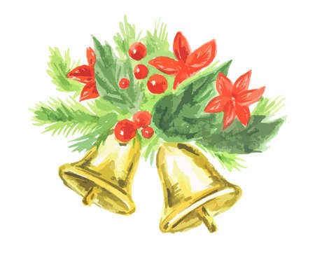 yaer: Watercolor christmas bells on white background. Symbol of merry christmas and new yaer.