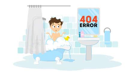 Oeps, pagina niet gevonden concept. Grappige cartoon man in de badkamer wassen in het bad. 404 error.