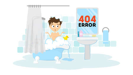 Oops, page not found concept. Funny cartoon man in the bathroom washing in the bath tub. 404 error. Иллюстрация